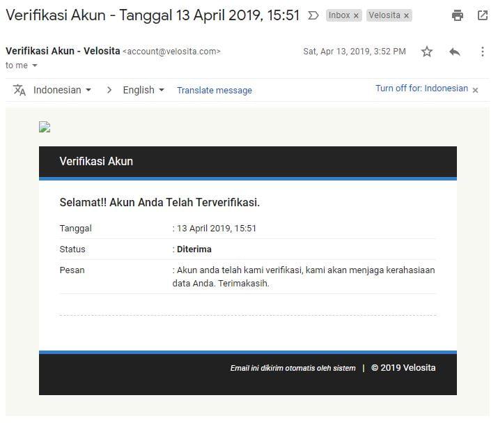 email verifikasi sukses